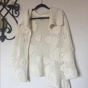 After The Rain Rosette Decal Open Crochet Cardigan